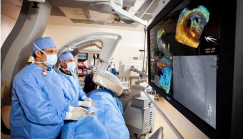 A patient's structural heart disease being treated with image-guided intervention.